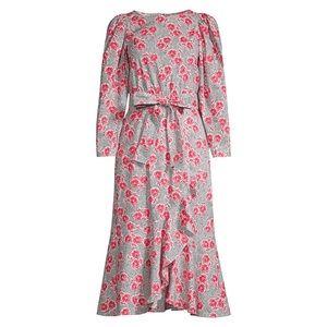 Rebecca Taylor Coral Flower Midi Dress